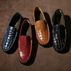 2017 New Arrival Luxury Brand Men Loafers Crocodile Skin Genuine Leather Men Driving Shoes Good Quality US Soft Comfortable