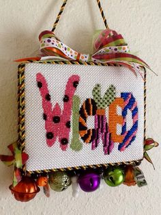 Love this boxed Halloween needlepoint sign stitched by Gayle A. with Nimble Needle Atlanta.