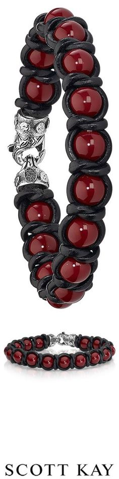 Men's red shell pearl beaded and black leather bracelet #ScottKay