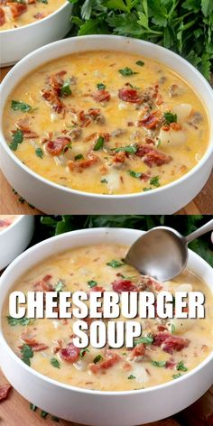 Cheeseburger soup is the ultimate comfort soup. Chock full of seasoned ground beef, potatoes, onions, cheese all in a creamy soup! food recipes videos crockpot THE BEST CHEESEBURGER SOUP Easy Soup Recipes, Healthy Dinner Recipes, Vegetarian Recipes, Chicken Recipes, Keto Recipes, Chicken Soup, Chicken Chili, Summer Soup Recipes, Chard Recipes