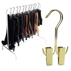 Boot rack with boot hangers // what a nifty storage idea! #product_design #organization
