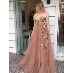 On Sale Light Champagne Party Dress A-Line Sweetheart Sweep Train Champagne Prom Dress With Appliques A Line Prom Dresses, Tulle Prom Dress, Homecoming Dresses, Formal Dresses, Long Dresses, Maxi Dresses, Party Dress, Ball Gowns Prom, Dance Dresses