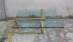 Image of Floating Brass Cantilever Glass Cocktail / Coffee Table