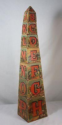 Antique Victorian Obelisk Alphabet Block Set c1882