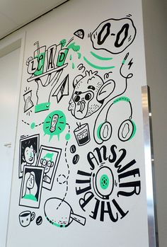Mural at Yieldr Amsterdam on Behance Mural Art, Wall Murals, Sign Design, Wall Design, Doodle Wall, Office Mural, Rabe, Wall Drawing, Cute Cartoon Wallpapers