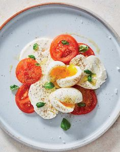 breakfast caprese with soft boiled eggs