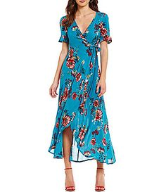 Band Of Gypsies Floral Print Wrap Maxi Dress #Dillards