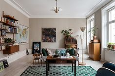 [House Tours] A Colourful Mid-Century Apartment in Stockholm - So Fresh & So Chic Home Design, Home Interior Design, Interior Decorating, Design Ideas, Ligne Roset, Home Living Room, Living Spaces, Stockholm Apartment, Take A Seat