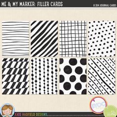 Me & My Marker: Filler Cards by Kate Hadfield ~ Add a touch of doodley fun to your pocket pages with this collection of 8 hand drawn 3x4 inch filler cards! Supplied as individual jpeg files and as a letter sized ready-to-print PDF file.