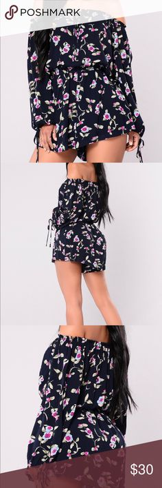 🎉GREAT BUY 🎉 Very Cute Floral Romper Cute and Trendy off the shoulder floral romper. Never worn, tags attached. Romper is a size medium however runs really big and stretches. Material is soft cotton. Has a stretch waistband fit. Can be dressed up or down. Start your spring and summer shopping now. 💐 I have 😉 Fashion Nova Other