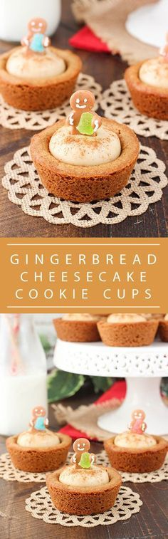 Gingerbread Cheesecake Cookie Cups - a soft and chewy gingerbread cookie cup filled with no bake gingerbread cheesecake! So cute and the perfect dessert for your Christmas party! christmas food and drink Xmas Food, Christmas Sweets, Christmas Cooking, Holiday Desserts, Holiday Baking, Just Desserts, Holiday Recipes, Delicious Desserts, Holiday Cookies