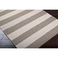 Sandy Grey and Ivory Beach Striped Area Rug