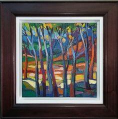 "NEW ART ARRIVALS !!! Isabel Le Roux ""Trees in Golden Gate"" 2015 47cm x 47cm  framed size 73cm x73cm  oil on stretched canvas Framed"