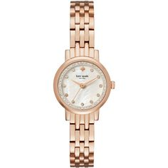 Kate Spade Mini Monterey Mother of Pearl Dial Ladies Watch ($165) ❤ liked on Polyvore featuring jewelry, watches, crown jewelry, stainless steel wrist watch, analog wrist watch, quartz movement watches and analog watches