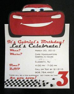 Invitation idea for Cars themed party