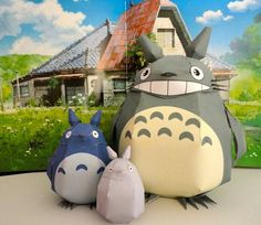 here are three totoro papercrafts with different color grey blue and white the paper crafts are created by studioofmm there are other versions of the