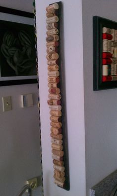 Upcycled wine cork message board on barrel by UpcyclingMelissa