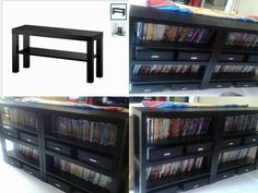 When you can't find what you want, make it! I wanted a sofa table/dvd storage for behind the couch but everything I found was either too small, too big or too much damn money.  I found these tv tables at ikea for $19.99 (top left corner), I bought four, moved the shelves to accommodate dvd's and screwed them all together and to the back of the couch and voila! Exactly what I wanted for under $100!