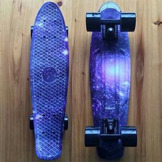 "Graphic Series Purple Marble Space Galaxy Universe Board on Black Wheels 22"" Mini Cruiser Penny Style Skateboard"