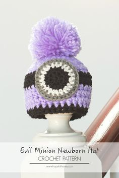 Newborn Evil Minion Inspired Hat - Free Crochet Pattern