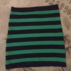 FOREVER 21 MINI SKIRT ⭐️WORN ONCE⭐️ This super cute mini bandage skirt fits like a glove, has great stretch and is thick enough to be worn during a fun night out in the spring or summer. The material has a great texture and the colored stripe pattern is a great pop of color! Forever 21 Skirts Mini