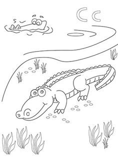"""""""C"""" is for """"Crocodile"""" Coloring Page"""