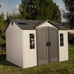 Magnifique abri de jardin en résine à aspect maison. Abri HDPE 23mm Element de 7,44m² + plancher de marque Lifetime disponible sur www.mon-abri-de-jardin.com