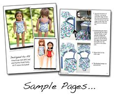 FREE Swimsuit pattern for American girl doll, BFC. Ink doll, and Karito Kids Doll. Download, print,sew! Perfect for summer fun!
