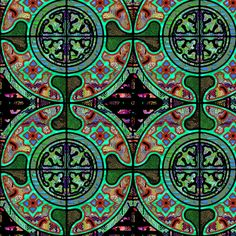 GREEN MOSS BROWN HARMONY MANDALA TILES CHECK Medium scale fabric by paysmage on Spoonflower - custom fabric