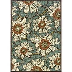 @Overstock - This bold floral design Caprina indoor/outdoor area rug will make your outdoor spaces feel more like home and features shades of blue, ivory, orange and green.http://www.overstock.com/Home-Garden/Blue-Brown-Outdoor-Area-Rug-710-x-10/6233147/product.html?CID=214117 $187.99