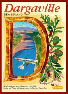 Art Deco Aviation Postcard Dargaville New Zealand by Contour Creative Studio, via Flickr