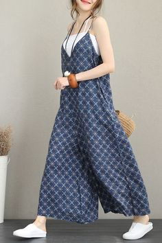 Cute Print Wide Leg Blue Overalls Women Linen Clothes - Cute Print Wide Leg Blue Overalls Women Linen Clothes Source by schaefti - Blue Overalls, Overalls Women, Blue Jumpsuits, Jumpsuits For Women, Overall Jumpsuit, Looks Party, Hippie Style Clothing, Womens Linen Clothing, Type Of Pants