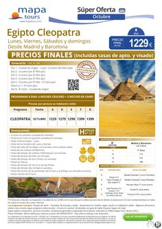 Egipto Cleopatra Oct Madrid y Barcelona**Precio Final 1129** ultimo minuto - http://zocotours.com/egipto-cleopatra-oct-madrid-y-barcelonaprecio-final-1129-ultimo-minuto-10/