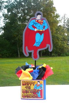 Superman tables centerpiece - switch out Happy Birthday for image of Fortress of Solitude 4th Birthday Boys, Superman Birthday Party, Avengers Birthday, Birthday Parties, Birthday Ideas, Happy Birthday, Superhero Baby Shower, Superhero Party, Birthday Party Centerpieces