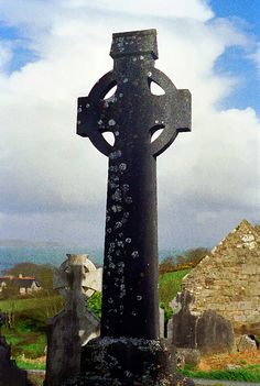 "Celtic Cross, Cork, Ireland: Western Ireland's desolation is truly a ""tragic beauty"", often seen in their many empty homes and graveyards. Celtic Pride, Celtic Art, Celtic Crosses, Old Rugged Cross, Cork Ireland, Jesus On The Cross, Places Of Interest, Europe Travel Tips, Cemetery"