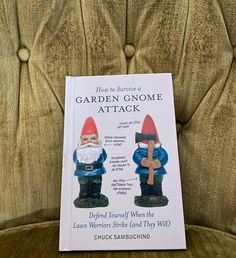 """19somethings on Instagram: """"SOLD @🍄🌈 2010, How to Survive a GARDEN GNOME ATTACK By Chuck Sambuching Defend yourself when the lawn Warriors strike (and they will)!…"""" Decks And Porches, Gnome Garden, Gnomes, Lawn, Grass"""