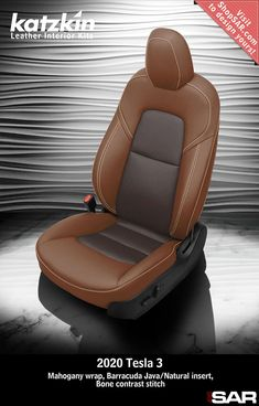 - This is a 2020 Tesla 3 seat with Mahogany wrap, Barracuda Java/Natural insert, Bone contrast stitch. Leather Kits, Custom Leather, Real Leather, Automotive Upholstery, Car Upholstery, Camo Gear, Leather Seat Covers, Popular Colors, Travel Oklahoma