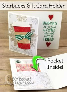 I made this cute Starbucks Gift Card Holder at an event with Patty. LOVE it! Easy and fun.