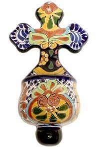 "Talavera Holy water font 5.75""W x 10.5""H by Tierra Fina. $23.95. Mexican Talavera. These beautifully handcrafted Hold Water Fonts will adorn any small area in your home.If selected pattern is out of stock the next available in stock pattern will be chosen at random and shipped."