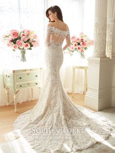 Sophia Tolli Spring 2016,long sleeves off shouler lace wedding dress, Y11632 - Riona - Mon Cheri Bridals