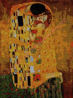 Gráficos a punto de cruz - El beso de Gustav klimt 54 x 73 cm Manual, Embroidery, Painting, Tela, Famous Pictures, Knitwear, Cross Stitch Pictures, Kisses, Hand Embroidery