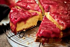 Upside-down rhubarb, ginger & almond cake - delicious.