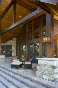 Contemporary Stacked Stone And Wood Beam Exterior Design Ideas, Pictures, Remodel, and Decor - page 7