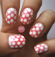 Polka Dot Gradiant Nails     Reminds me of the mushroom from the Mario Brothers Nintendo games.