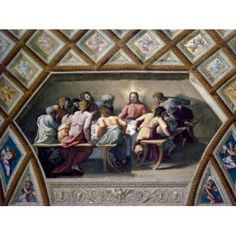 Italy Rome Vatican City St Peters Basilica The Last Supper by Raphael Santi fresco (1483-1520) Canvas Art - Raphael (18 x 24)