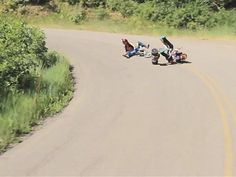 OMG what fun! Drifting power wheels and trikes on the open road. Do not let my 6 yr old see this!