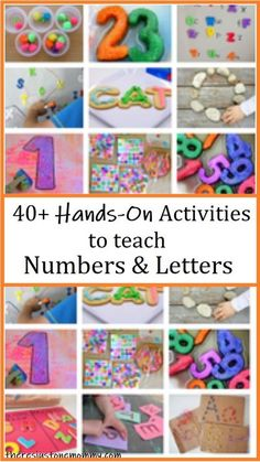 Over 40 fun ways to teach toddlers and preschoolers letters and numbers  #preschool #toddler #preschoolactivities Educational Activities For Toddlers, Preschool Learning Activities, Alphabet Activities, Hands On Activities, Toddler Preschool, Preschool Activities, Toddler Learning, Teaching Abcs, Teaching Numbers