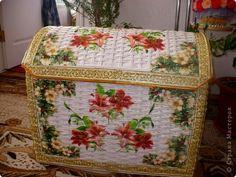 Поделка изделие Декупаж Плетение Сундук Бумага газетная Коробки Салфетки фото 1