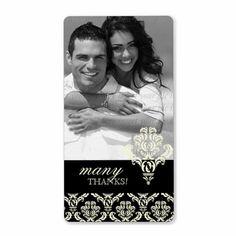 Damask Wedding Thank You Chandelier Cream Black Custom Shipping Label