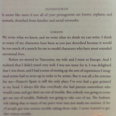 William Gibson, on characterization.